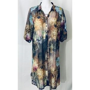 Tops - Simply Couture sheer button down long Tunic duster